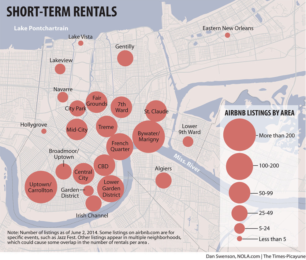 Apartment Rent Map: New Orleans & Airbnb Play Fair: 5 Effects On Real Estate